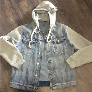 Button up denim vest with hoodie EUC